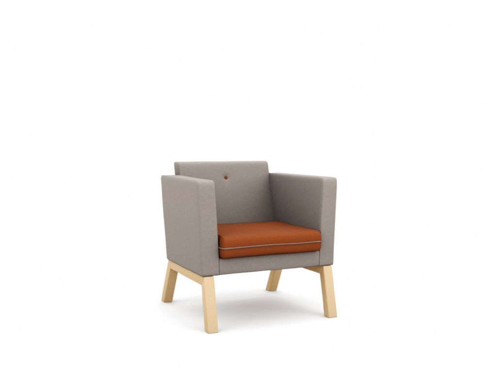 Pledge Me, Myself And I Upholstered Chair With Wooden 4 Leg Base, Low Back